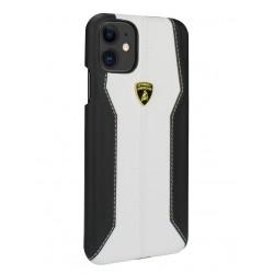 Lamborghini Lederhülle iPhone 11 Weiß / Schwarz