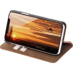 JT Berlin Book Case Tegel | Tasche für iPhone XR | Cognac Echtleder