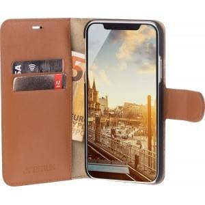 JT Berlin Book Case Kreuzberg | Tasche für iPhone Xs / X | Cognac Echtleder