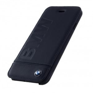 BMW Signature Logo Leder Book Cover / Handytasche für Apple iPhone 8 / 7 Schwarz