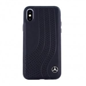 Mercedes Benz Bow I Echt Leder Hülle / Hardcover für iPhone XS / X - Schwarz