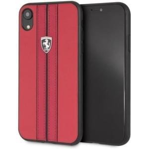 Ferrari Off Track Leder Handyhülle für iPhone XR Rot