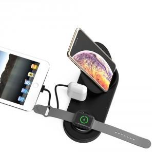 Schnelles 5 in 1 Powerful Qi Wireless Lade Pad / Ladegerät iPhone / iWatch / AirPods Schwarz