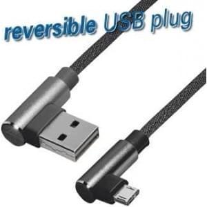 Lade / Datenkabel USB 2.0 Typ A Winkelstecker Micro USB B Winkelstecker 1m Nylongewebe