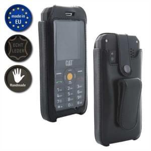 XiRRiX Echt Leder Handytasche für CAT B35 schwarz