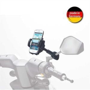 HR Smartphonehalter Motorradspiegel für Geräte 42 - 78 mm Farbe: Schwarz