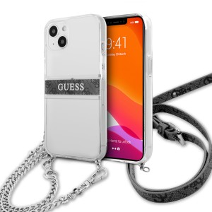Guess iPhone 13 Hülle Case Cover Transparent 4G Grey Stripe Crossbody