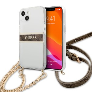 Guess iPhone 13 Hülle Case Cover Transparent 4G Gold Stripe Crossbody
