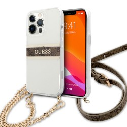 Guess iPhone 13 Pro Max Hülle Case Cover Transparent 4G Gold Stripe Crossbody