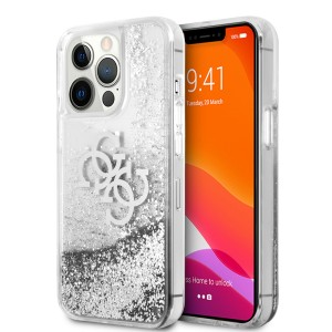 Guess iPhone 13 Pro Hülle Case Cover 4G Big Liquid Glitter Silber