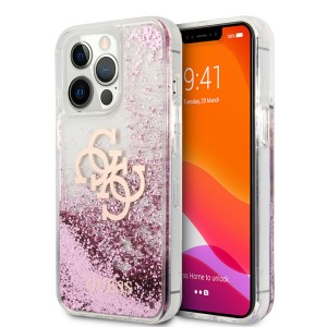 Guess iPhone 13 Pro Hülle Case Cover 4G Big Liquid Glitter Pink
