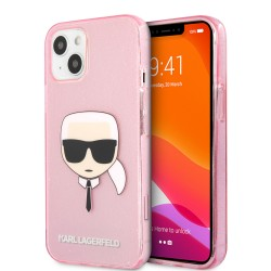 Karl Lagerfeld iPhone 13 Case Cover Hülle Karl`s Head Glitter Rosa