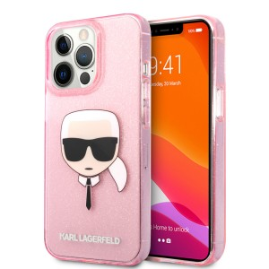 Karl Lagerfeld iPhone 13 Pro Max Case Cover Hülle Karl`s Head Glitter Rosa
