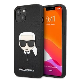 Karl Lagerfeld iPhone 13 mini Hülle Case Saffiano Karl`s Head Schwarz