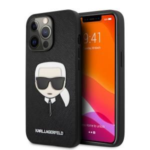 Karl Lagerfeld iPhone 13 Pro Max Hülle Case Saffiano Karl`s Head Schwarz