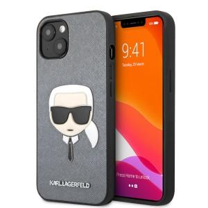 Karl Lagerfeld iPhone 13 mini Hülle Case Saffiano Karl`s Head Silber