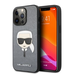 Karl Lagerfeld iPhone 13 Pro Max Hülle Case Saffiano Karl`s Head Silber