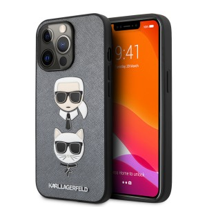 Karl Lagerfeld iPhone 13 Pro Max Hülle Case Saffiano Karl / Choupette Silber