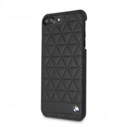 BMW Embossed Hexagon Echtleder Cover für iPhone 8 Plus / 7 Plus Schwarz