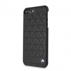 BMW Embossed Hexagon Echtleder Cover für iPhone 8 Plus / 7 Plus Schwarz