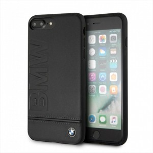 BMW Logo Imprint Echtleder Hardcover für iPhone 8 Plus / 7 Plus Schwarz