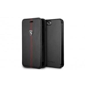 Ferrari Vertical Stripe Echtleder Tasche / Book Case für iPhone 8 Plus / 7 Plus Schwarz