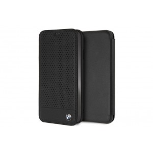 BMW Perforated Echtleder Tasche / Book Cover für iPhone XR Schwarz