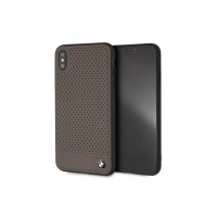 BMW Perforated Echtleder / TPU / PC Hülle für iPhone XR Braun