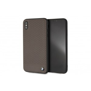BMW Perforated Echtleder / TPU / PC Hülle für iPhone XS Max Braun