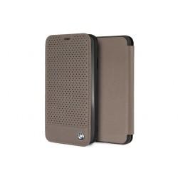 BMW Perforated Echtleder Tasche / Book Cover für iPhone XS Max Braun