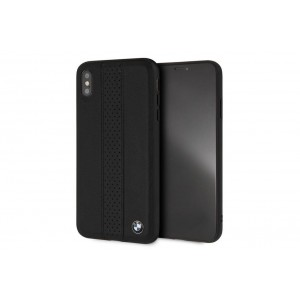 BMW Perforated Echtleder / TPU / PC Hülle iPhone XS Max Schwarz