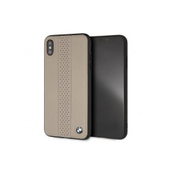 BMW Perforated Echtleder / TPU / PC Hülle für iPhone XS Max Taupe