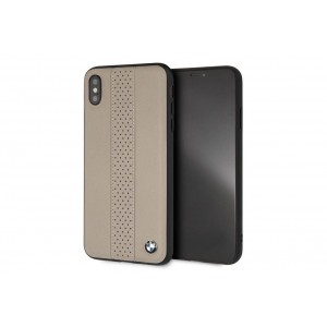 BMW Perforated Echtleder / TPU / PC Hülle für iPhone XR Taupe
