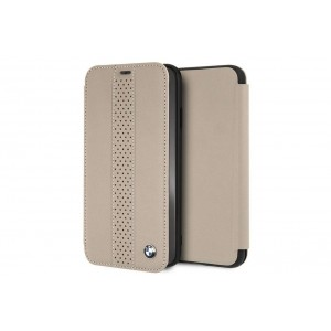 BMW Perforated Echtleder Tasche / Book Cover für iPhone XR Taupe