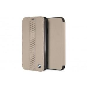 BMW Perforated Echtleder Tasche / Book Cover für iPhone XR Taupe