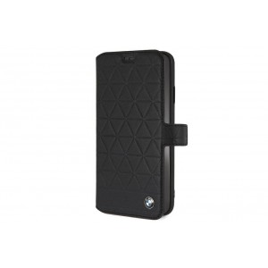 BMW Embossed Hexagon Echtes Leder Tasche / Book Cover für iPhone XS Max Schwarz