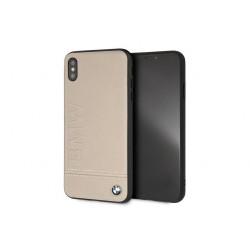 BMW Logo Imprint Echtleder Schutzhülle für iPhone XR Taupe