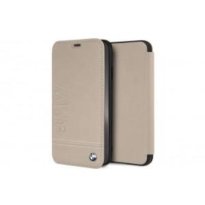 BMW Signature Logo Echtes Leder Tasche / Book Cover für iPhone XR Taupe
