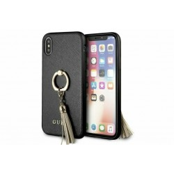Guess Saffiano Cover / Hülle Ring für iPhone XS Max Schwarz