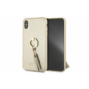 Guess Saffiano Cover / Hülle Ring für iPhone XS Max Beige Gold