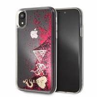 Guess Glitter Hearts Hard Case / Hülle für iPhone XR Transparent / Pink
