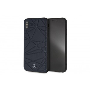 Mercedes Benz Crystal Echtleder Hülle / Cover für iPhone XS Max Navy