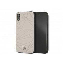 Mercedes iPhone XR Pattern Line Twister Echtleder Hülle / Cover Case Taupe