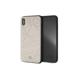 Mercedes Benz Crystal Echtleder Hülle / Cover für iPhone XS Max Grau