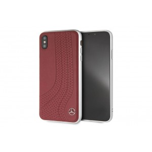 Mercedes Benz Wave II Echtleder Hülle / Cover für iPhone XS Max Rot