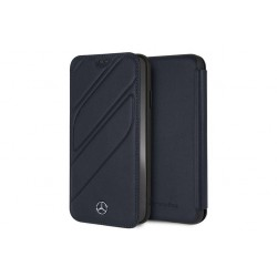Mercedes Benz Organic II Echtleder Tasche / Book Cover iPhone XS Max Navy