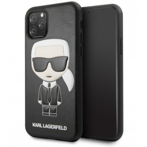 Karl Lagerfeld Iconic Karl Lederhülle iPhone 11 Pro Max Schwarz KLHCN65IKPUBK