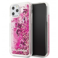 Karl Lagerfeld Floating Charms Hülle Glitter iPhone 11 Pro Max Pink