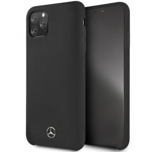 Mercedes Benz Liquid Silikon Hülle Microfiber iPhone 11 Pro Schwarz MEHCN58SILBK