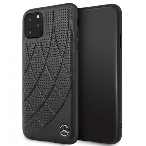 Mercedes Benz Perforated Quilted Echtes Lederhülle iPhone 11 Pro Max Schwarz MEHCN65DIQBK